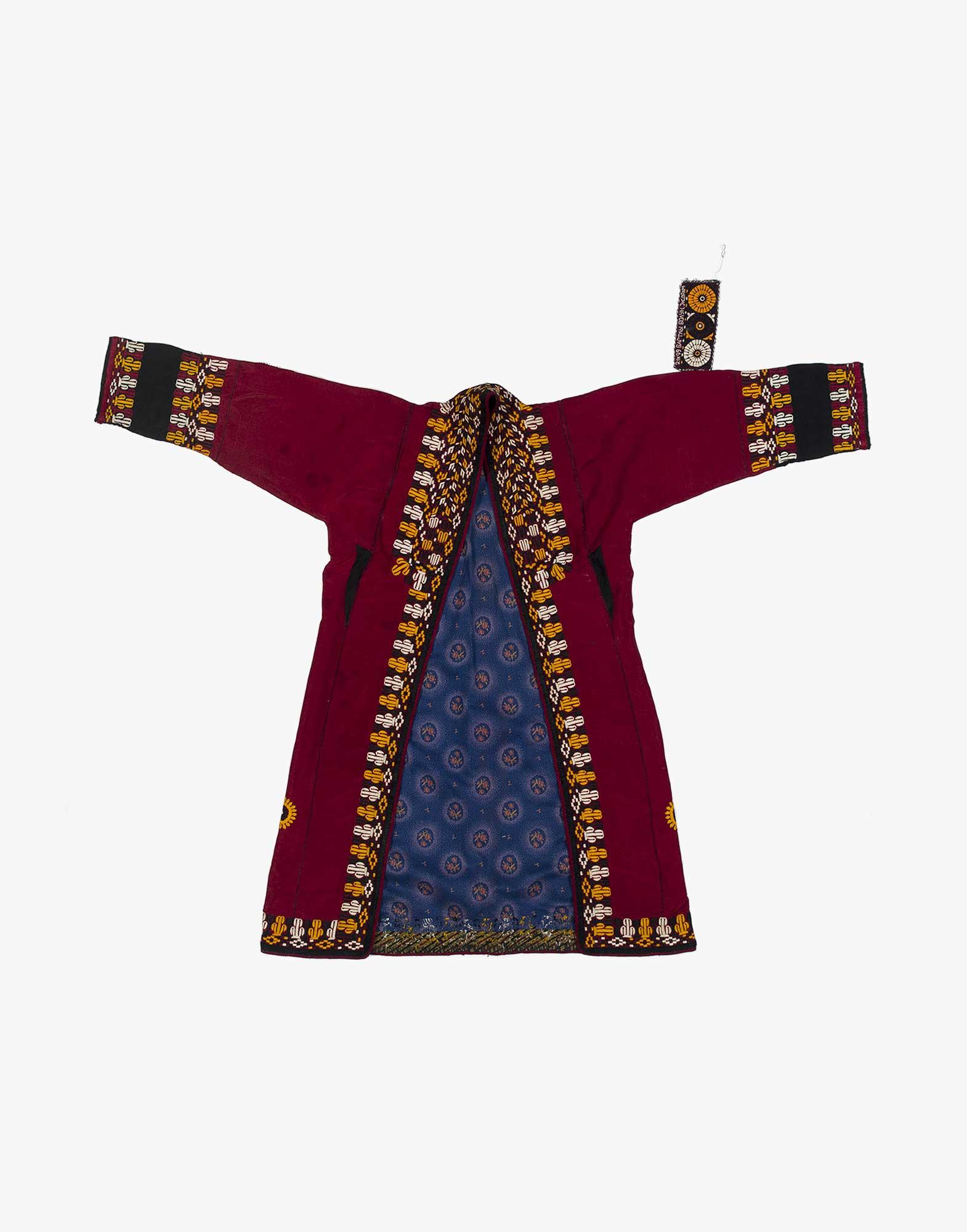 Central Asian Turcoman Silk And Cotton Kaftan Robe