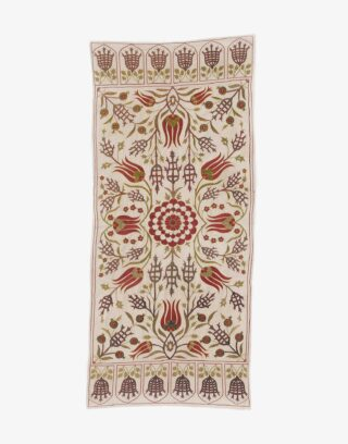 Uzbek Suzani Embroidered Silk Textile