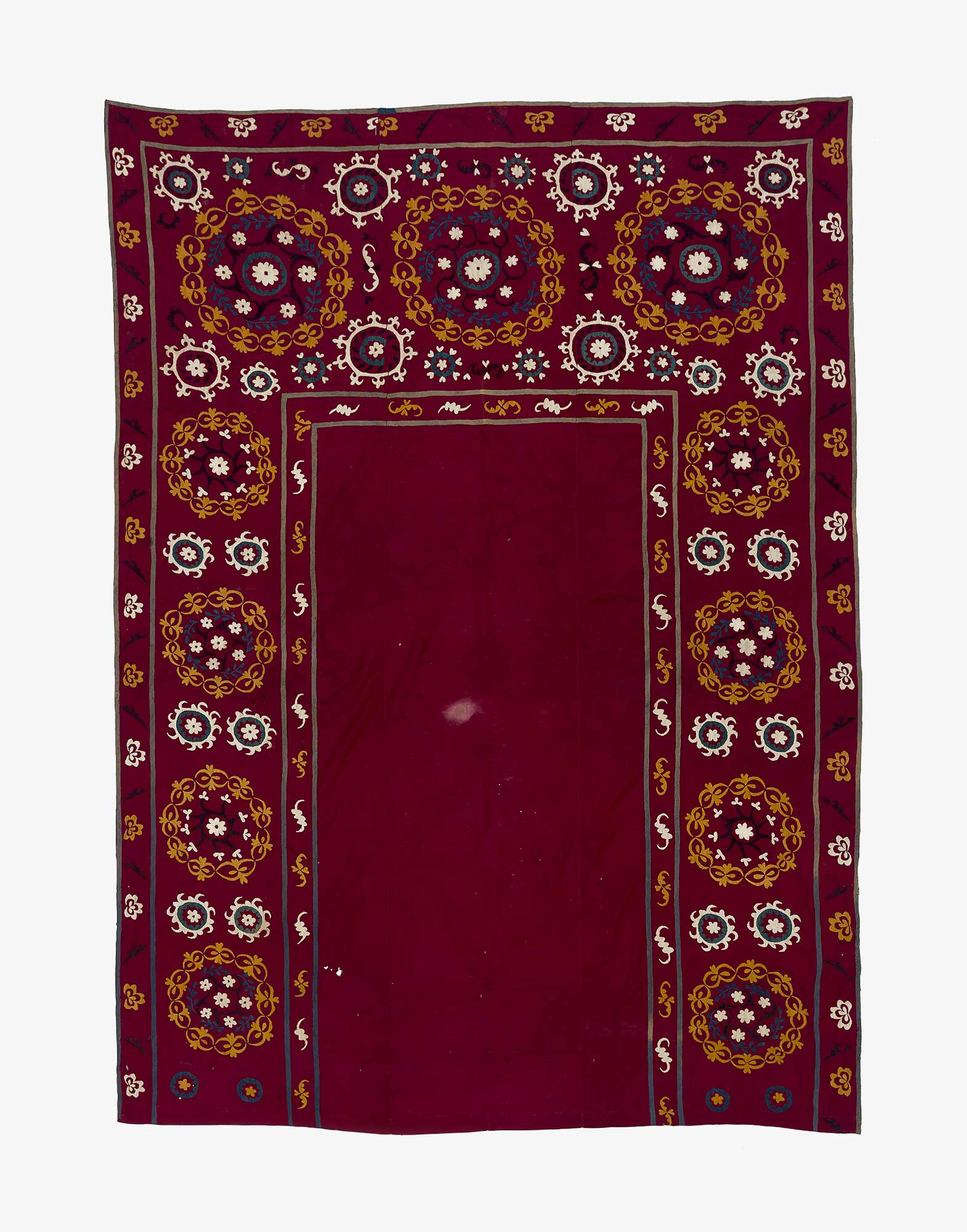 Vintage Uzbek Suzani Prayer Mat